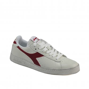 Game L Low - Sneakers in pelle bianca con baffo rosso